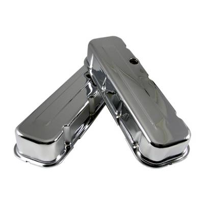 Valve Covers & Accessories - Street Valve Covers  - Assault Racing Products - Big Block Chevy 454 Chrome Steel Valve Covers Tall Style - BBC 396 402 427