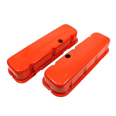 Valve Covers & Accessories - Street Valve Covers  - Assault Racing Products - Big Block Chevy 454 Orange Steel Valve Covers Tall Style - BBC 396 402 427