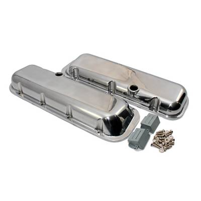 Valve Covers & Accessories - Street Valve Covers  - Assault Racing Products - Big Block Chevy Short Polished Aluminum Valve Covers with Breather Holes 396 454