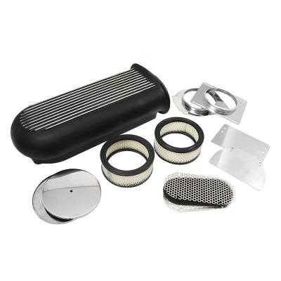Air Filters & Cold Air Intakes - Air Cleaner Assemblies & Accessories - Assault Racing Products - Black Aluminum Hilborn Style Finned Air Scoop Single or Dual 4 Barrel Carburetor