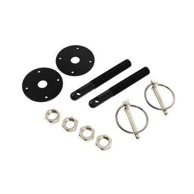 Body Components - Body Fasteners, Brackets & Braces - Assault Racing Products - Black Aluminum Hood Pin Kit Q-Clips IMCA NHRA Circle Track Drag Racing Hot Rod