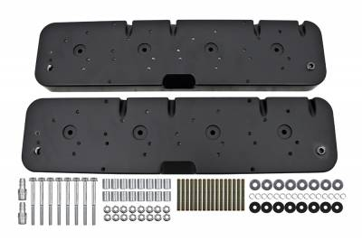 Valve Covers & Accessories - Street Valve Covers  - Assault Racing Products - Black Aluminum LS Chevy CNC Valve Cover Adapter Kit To Chevy 1955-1985 Covers