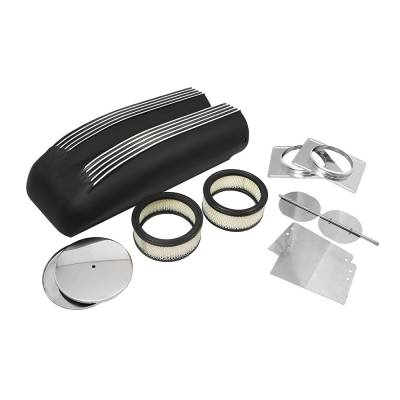 Air Filters & Cold Air Intakes - Air Cleaner Assemblies & Accessories - Assault Racing Products - Black Aluminum Polished Fins Finned Shotgun Intake Air Scoop Single & Dual Carb