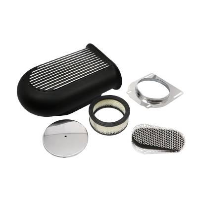 Black Aluminum Polished Fins Hilborn Style Finned Hood Air Scoop Kit Single 4BBL
