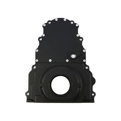 Valvetrain & Camshaft Components - Timing Covers, Timing Pointers & Accessories - Assault Racing Products - Black Aluminum Two Piece LS Engine Timing Chain Cover Chevy GM / Cam Sensor Hole