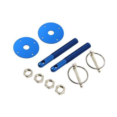 Body Components - Body Fasteners, Brackets & Braces - Assault Racing Products - Blue Aluminum Hood Pin Kit Q-Clips w/ Scuff Plates Circle Track Racing Hot Rod