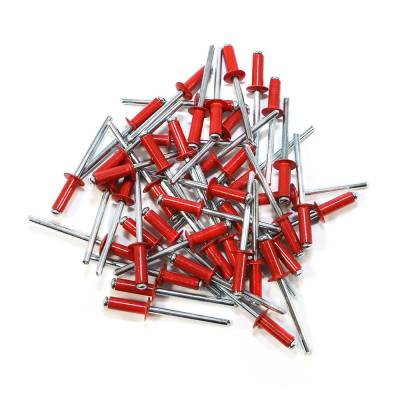 "Body Components - Rivets & Fasteners - Assault Racing Products - Box of 250 Blind Open End Red Finish 3/16"" Dia. Small Head Aluminum Rivets"