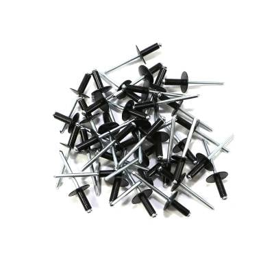 "Assault Racing Products - Box of 250 Blind Open End Black Finish 3/16"" Dia. Large Head Aluminum Rivets"