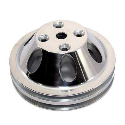 Cooling - Pulleys, Belts & Kits - Assault Racing Products - SBC Small Block Chevy V-Belt 2 Groove Aluminum Water Pump Pulley Long 350 400