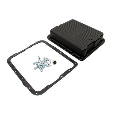 Transmission & Drivetrain - Transmission Oil Pan & Components - Assault Racing Products - GM Chevy 700R4 4L60E 4L65E Black Aluminum Transmission Pan Kit w/ Bolts Gasket