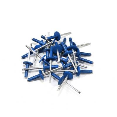 "Assault Racing Products - Box of 250 Exploding Chevron Blue Finish 3/16"" Dia. Large Head Aluminum Rivets"