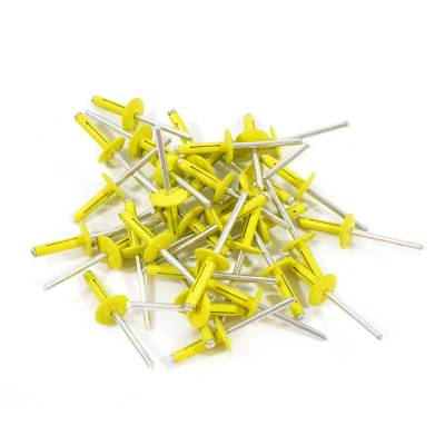 "Body Components - Rivets & Fasteners - Assault Racing Products - Box of 250 Exploding Yellow Finish 3/16"" Dia. Large Head Aluminum Rivets"