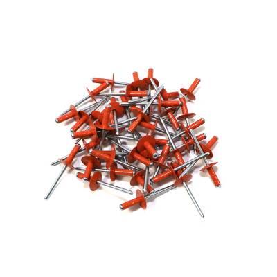 "Body Components - Rivets & Fasteners - Assault Racing Products - Box of 250 Multi Grip Orange Finish 3/16"" Dia. Large Head Aluminum Rivets"