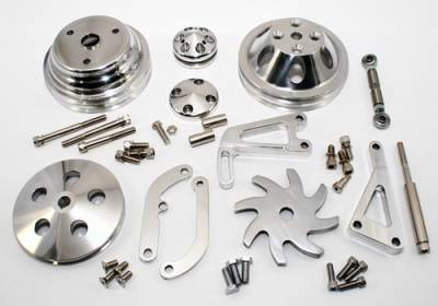 Engine Components & Valvetrain - Dress-Up Kits - Assault Racing Products - Chevy 350 Complete Billet Aluminum Dress Up Pulley & Bracket Kit V-Belt Long WP