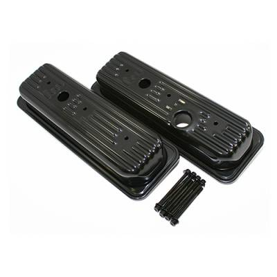 Valve Covers & Accessories - Street Valve Covers  - Assault Racing Products - Chevy GMC 4.3L V6 Baffled Short Style Center Bolt Steel Valve Covers Kit Black