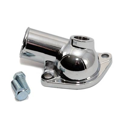 Cooling - Water Necks & Housings - Assault Racing Products - Chevy V8 Chrome Plated Water Neck Thermostat Housing + Temp Port SBC 350 BBC 454