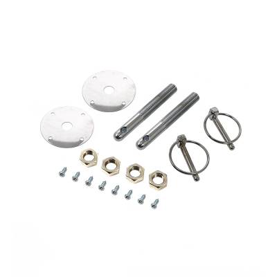 Body Components - Body Fasteners, Brackets & Braces - Assault Racing Products - Chrome Steel Hood Pin Kit Q-Clips Scuff Plates Circle Track Drag Racing Hot Rod