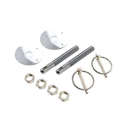 Body Components - Body Fasteners, Brackets & Braces - Assault Racing Products - Chrome Aluminum Hood Pin Kit Q-Clips w/ Scuff Plates Circle Track Drag Hot Rod