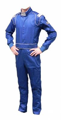 Ultra Shield Race Products - ULTRA SHIELD Blue Single Layer 1pc Race Driving Fire Suit SFI Rated 3.2A/1