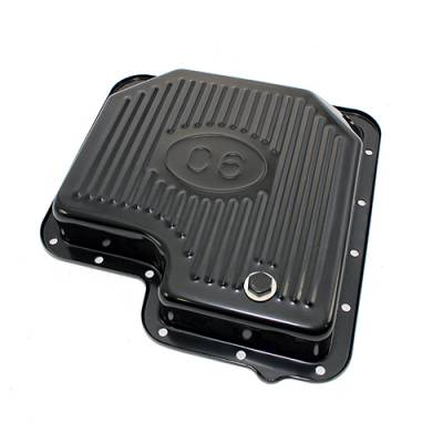 Transmissions, Rearends, & Gears  - Transmission Oil Pan & Components - Assault Racing Products - Ford C6 Automatic Transmission Pan Black Plated Steel - Stock Capacity With Logo