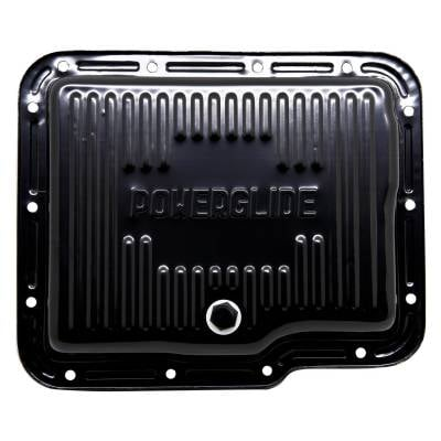 Transmission & Drivetrain - Transmission Oil Pan & Components - Assault Racing Products - GM Chevy Powerglide Black Automatic Transmission Pan - Stock Capacity W/ Drain
