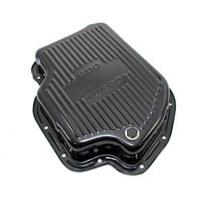 Transmission & Drivetrain - Transmission Oil Pan & Components - Assault Racing Products - GM Chevy Turbo 400 Black Automatic Transmission Deep Pan - Extra Capacity TH400