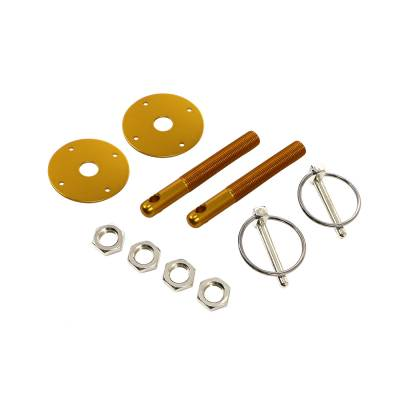 Body Components - Body Fasteners, Brackets & Braces - Assault Racing Products - Gold Aluminum Hood Pin Kit Q-Clips / Scuff Plates IMCA NHRA Circle Track Hot Rod