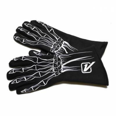 Safety & Seats - Driving Gloves - Velocita - Velocita WHITE SINGLE LAYER Safety Driving Gloves Racing Skeleton SFI