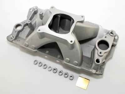 Intake Manifolds - Carbureted Intake Manifolds - Assault Racing Products - SBC CHEVY High Rise Aluminum Intake Manifold 350 400 Single Plane IMCA Modified