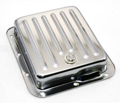 Transmission & Drivetrain - Transmission Oil Pan & Components - Assault Racing Products - Pan Fill Ford C4 Chrome Steel Automatic Transmission Pan - Stock Capacity