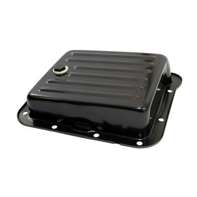 Transmission & Drivetrain - Transmission Oil Pan & Components - Assault Racing Products - Pan Fill Style Ford C4 Black Steel Automatic Transmission Pan - Stock Capacity