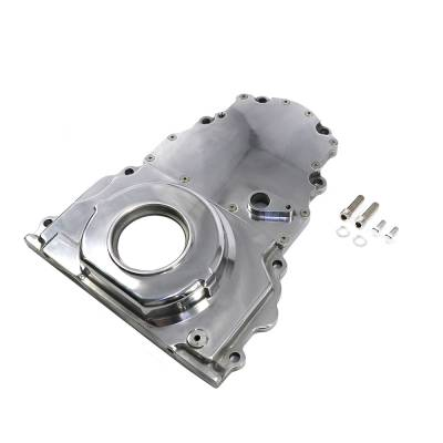 Valvetrain & Camshaft Components - Timing Covers, Timing Pointers & Accessories - Assault Racing Products - Polished Aluminum 2 Piece LS Engine Timing Chain Cover Chevy GM Cam Sensor Hole