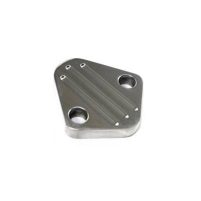 Fuel Injection  - Fuel Pumps, Regulators & Components - Assault Racing Products - Polished Aluminum Fuel Pump Ball Milled Block Off Plate Chevy Ford Mopar SBC BBF