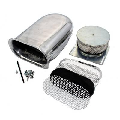 Polished Aluminum Hilborn Style Smooth Hood Air Scoop Kit 4 Barrel Carburetor