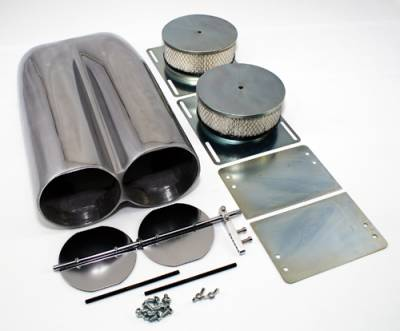 Air Filters & Cold Air Intakes - Air Cleaner Assemblies & Accessories - Assault Racing Products - Polished Aluminum Shotgun Double Barrel Intake Hood Scoop Smooth Dual Carb Setup