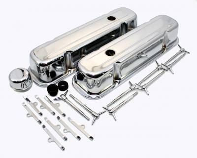 Engine Components & Valvetrain - Dress-Up Kits - Assault Racing Products - Pontiac V8 301 326 350 455 Chrome Valve Cover Dress Up Kit GTO Trans Am Firebird