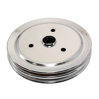 Cooling - Pulleys, Belts & Kits - Assault Racing Products - SBC 327 350 Small Block Chevy 2 Groove Chrome Crank Pulley Short Water Pump