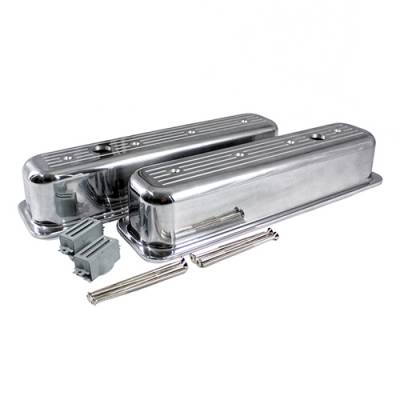 Valve Covers & Accessories - Valve Covers - Assault Racing Products - SBC 350 Chevy 5.7L Ball Milled Polished Aluminum Centerbolt Tall Valve Covers