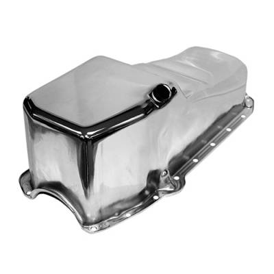Oil Pans - Street Oil Pans - Assault Racing Products - SBC 58-79 Stock Capacity Chrome Oil Pan 4qt 305 327 350 400 Chevy Small Block