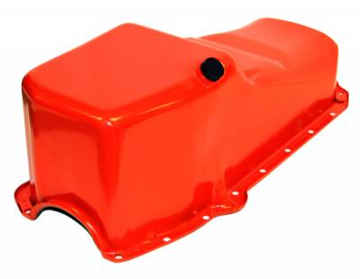 Oil Pans - Street Oil Pans - Assault Racing Products - SBC 58-79 Stock Capacity Orange Painted Oil Pan 327 350 400 Chevy Small Block