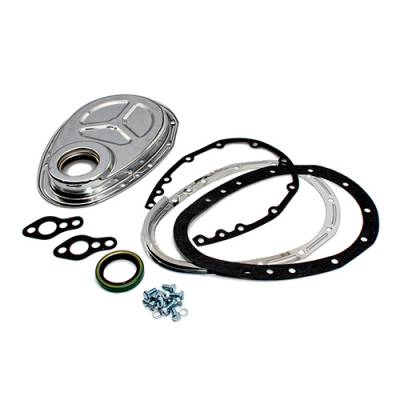 Valvetrain & Camshaft Components - Timing Covers, Timing Pointers & Accessories - Assault Racing Products - SBC Chevy 2 Piece Chrome Timing Chain Cover - 283 305 327 350 400 Small Block