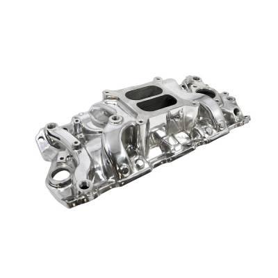 Intake Manifolds - Carbureted Intake Manifolds - Assault Racing Products - SBC Chevy 350 400 Polished Dual Plane Aluminum Medium Rise Intake Manifold