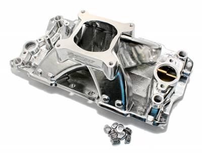 Intake Manifolds - Carbureted Intake Manifolds - Assault Racing Products - SBC Chevy 350 400 Polished High Rise Aluminum Single Plane Intake Manifold