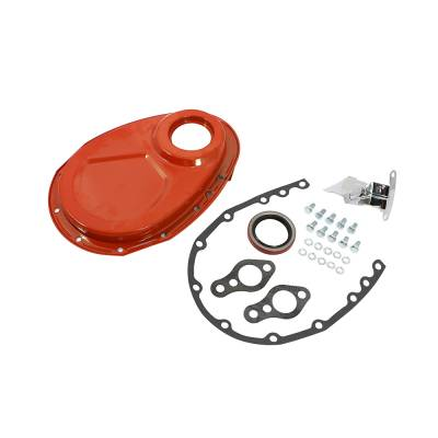 Valvetrain & Camshaft Components - Timing Covers, Timing Pointers & Accessories - Assault Racing Products - SBC Chevy 350 Orange Steel Timing Chain Cover Kit Small Block 305 327 400
