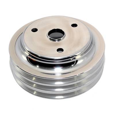 Cooling - Pulleys, Belts & Kits - Assault Racing Products - SBC Chevy Aluminum Crank Pulley Triple 3 Groove For Long Water Pump LWP 350 400