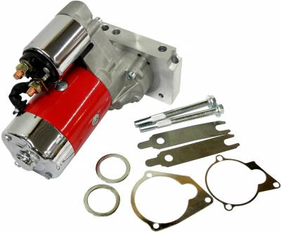 Ignition & Electrical - Starters - KMJ Performance Parts - SBC BBC Chevy 3HP Mini Starter Red - Dual Inline 153 168 Tooth 305 350 396 454