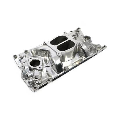 Intake Manifolds - Carbureted Intake Manifolds - Assault Racing Products - SBC Chevy Dual Plane Polished Aluminum Intake Manifold for Vortec 350 Heads