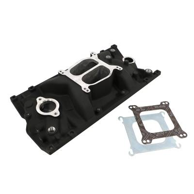 Intake Manifolds - Carbureted Intake Manifolds - Assault Racing Products - SBC Chevy Dual Plane Black Texture Aluminum Intake Manifold for Vortec 350 Heads