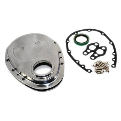 Valvetrain & Camshaft Components - Timing Covers, Timing Pointers & Accessories - Assault Racing Products - SBC Chevy Polished Aluminum Timing Chain Cover Kit - 283 327 350 400 Small Block