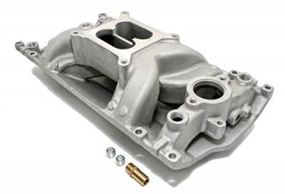Intake Manifolds - Carbureted Intake Manifolds - Assault Racing Products - SBC Small Block Chevy Vortec Air Gap Aluminum Intake Manifold 350 Satin
